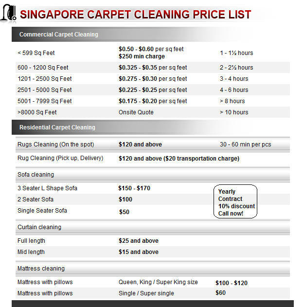 Singapore Carpet Cleaning Pricelist