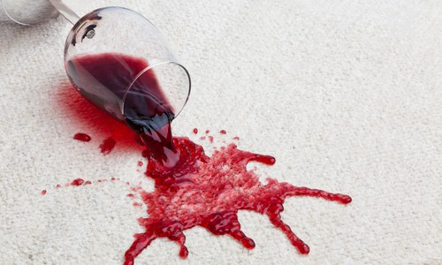 Removing red wine stains on carpet