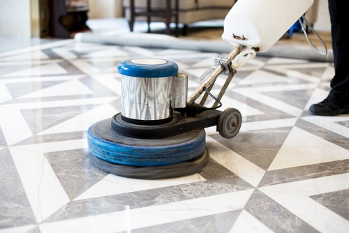 Polishing marble flooring